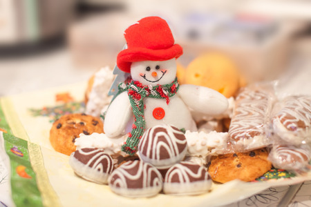 Christmas treats snowman and sweety cookies
