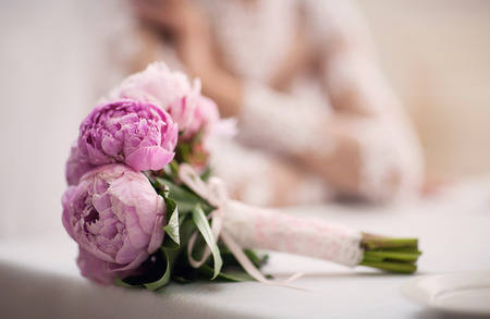 Pink bouquet of the bride