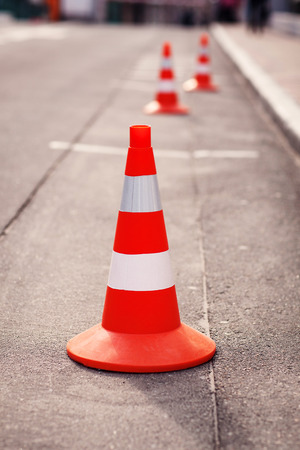 emergency lane: Red cone on the road