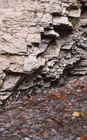stratified: The layered rocks. Carpathians mountains, Ukraine