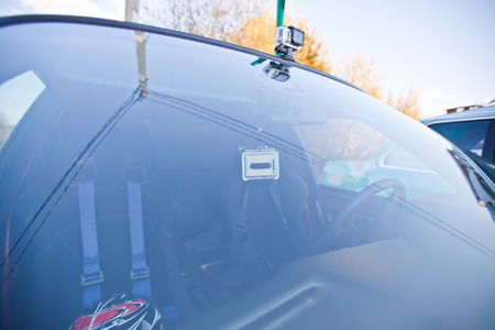 filming point of view: Two action cameras on the sport car Stock Photo