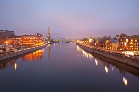 patriarchal: View from the Patriarchal bridge on the panorama of Moscow - river. Russia
