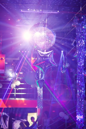 mirror ball: Mirror ball rolling in the night club.