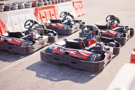 carting: Four karts before the start. Stock Photo