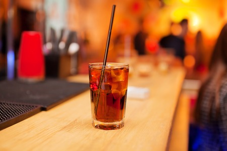 bar counter: The glass cold drink on the bar counter. Stock Photo