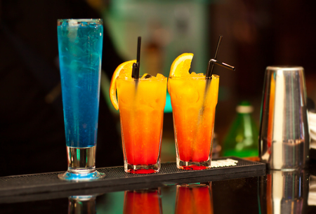 tropical drink: Exotic cocktails at bar counter at a nightclub.
