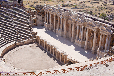hierapolis: Antique amphitheater in the ancient city of Hierapolis. Pamukkale, Turkey.