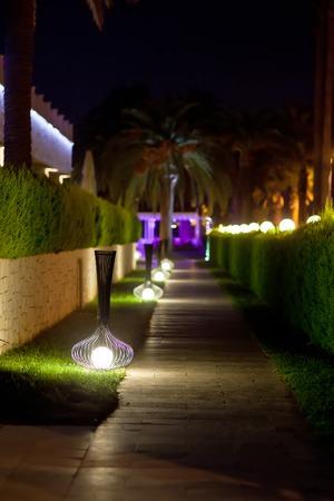 walking paths: Walking paths with night illumination on territory hotel.