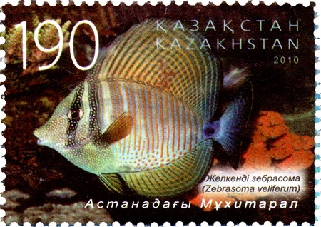 zebrasoma: KAZAKHSTAN - CIRCA 2010: Postage stamp printed in Kazakhstan shows the Zebrasoma veliferum. Astana oceanarium Editorial