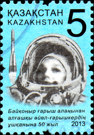 tereshkova: KAZAKHSTAN - CIRCA 2013: Stamp printed in Kazakhstan devoted 50th anniversary of the flight into the space the first woman - cosmonaut from the cosmodrome Baikonur