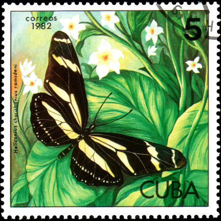 CUBA - CIRCA 1982: Postage stamp printed by Cuba shows butterfly Heliconius charithonius ramsdeni Editorial