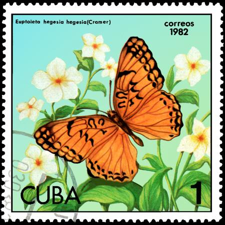 CUBA - CIRCA 1982: Postage stamp printed by Cuba shows butterfly Euptoieta hegesia, series Butterflies
