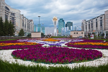 ASTANA, KAZAKHSTAN - July 15, 2016: Baiterek - a monument in the capital of Kazakhstan, Astana, one of the main attractions of the city Editorial