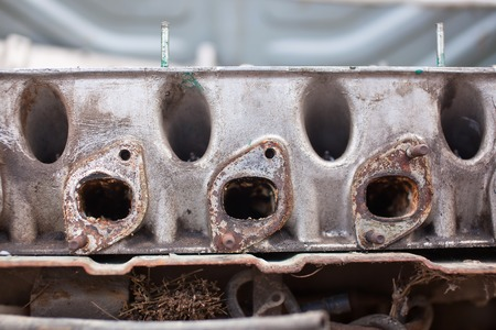 Close-up photo of An exhaust manifold.