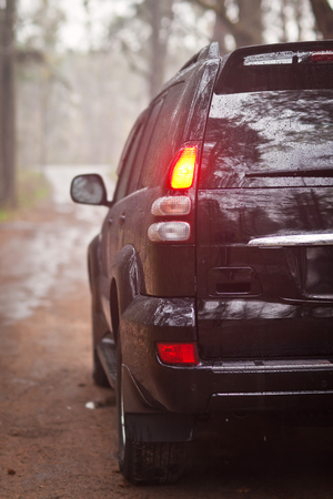winter tires: Rear side of the black SUV in forest Stock Photo