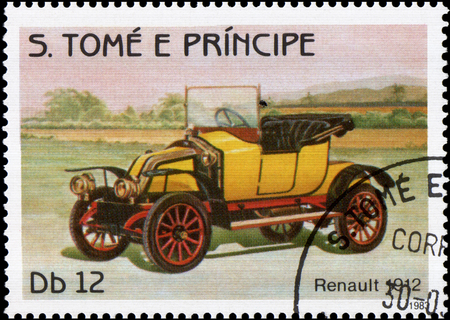 old envelope: S.TOME E PRINCIPE - CIRCA 1983: postage stamp printed in S.Tome e Principe shows image of the retro car Renault 1912 year of release