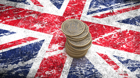 A pile of Bitcoin coins stands on the flag of Britain. 3D render