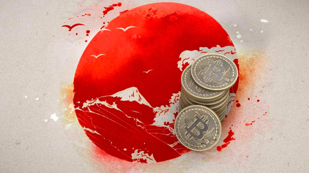 A pile of Bitcoin coins stands on the flag of Japan. 3D render