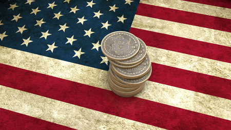 electronic background: A pile of Bitcoin coins stands on the flag of USA. 3D render