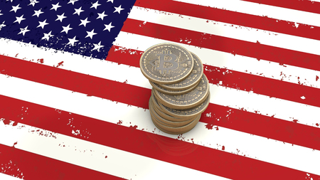 A pile of Bitcoin coins stands on the flag of USA. 3D render