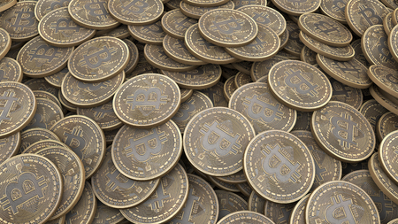 A lot of Bitcoin gold coins. 3D render.