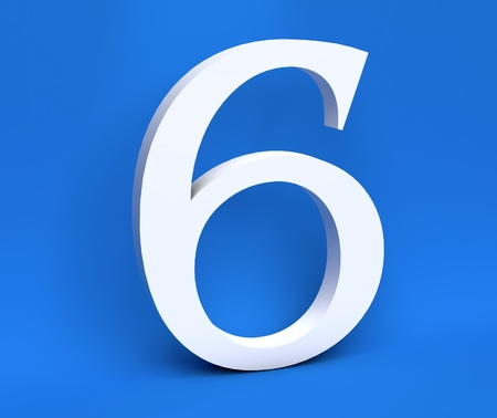 White number 6 (Six) on a blue background. 3D Render