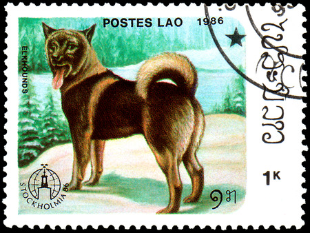 LAOS - CIRCA 1986: postage stamp, printed in Laos, shows Elkhound dog