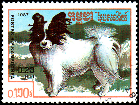 KAMPUCHEA - CIRCA 1987: postage stamp, printed in Kampuchea, shows a Papillon dog, series breeds dogs Editorial