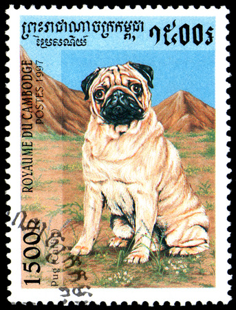 CAMBODIA - CIRCA 1997: postage stamp, printed in Cambodia, shows a Pug Carlin Editorial