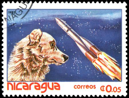 NICARAGUA - CIRCA 1982: stamp, printed in Nicaragua, shows Dog-cosmonaut Laika Editorial