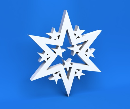 3d white Christmas snowflake isolated on blue background