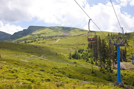 Cableway in the Carpathians. Ukraine Stock Photo