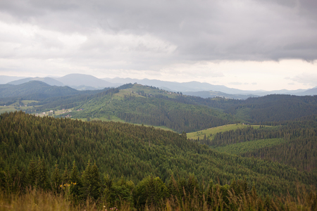 A view of the mountain range in the Carpathian Mountains. Ukraine.