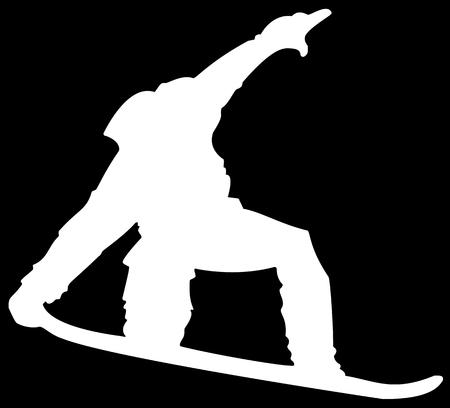 White Snowboarder Flat Icon on Black Background. 版權商用圖片