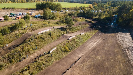 Aerial view of the motocross track on which the race is going.