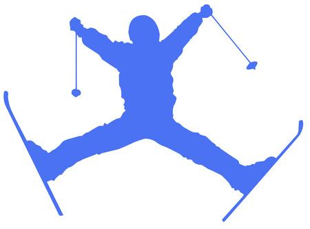 Blue Skier Flat Icon on White Background.