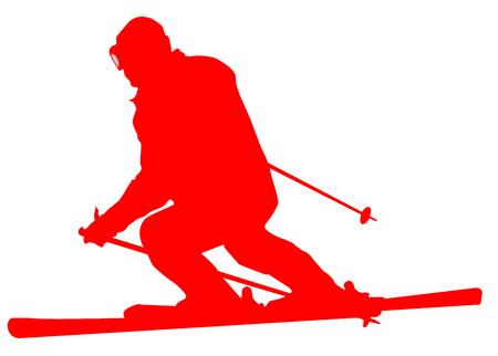 Red Skier Flat Icon on White Background. Stock Photo
