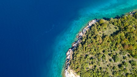 Aerial view of crystal clear water off the coastline in Croatia.