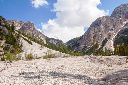 Mudflow with snow high in the Alpine mountains.