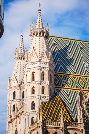 Details from the roof and tower of the Stephansdom - St Stephanss church. Vienna, Austria.