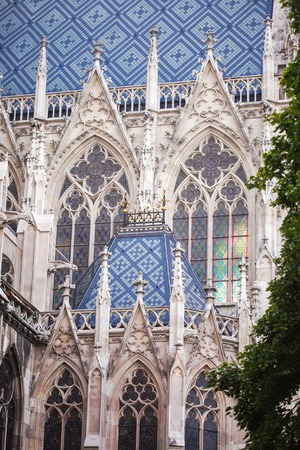 Details from the roof and tower of the Stephansdom - St Stephanss church. Vienna, Austria