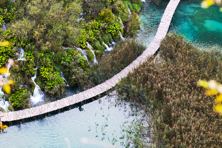 Aerial view on wooden bridge over the lake, Plitvice Lakes.