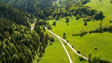 Aerial view from the heights of the road that runs through the Slovak Mountains.