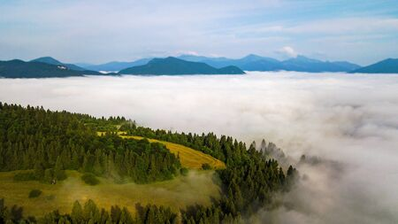 Aerial view from the heights of the road that runs through the Slovak Mountains. Stockfoto