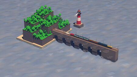 3D Train rides on the bridge to the island. Reklamní fotografie