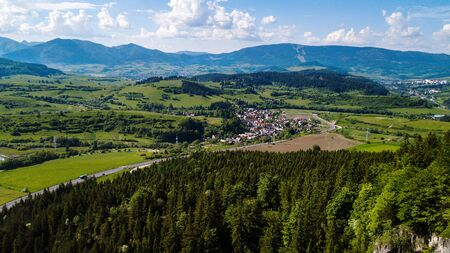 Aerial view of a small village in Slovakia, in the Tatra Mountains.