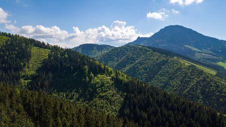 Aerial view of mountain peaks in the Slovak Tatras.