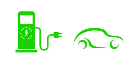 Green flat icon of electric refueling car on white background