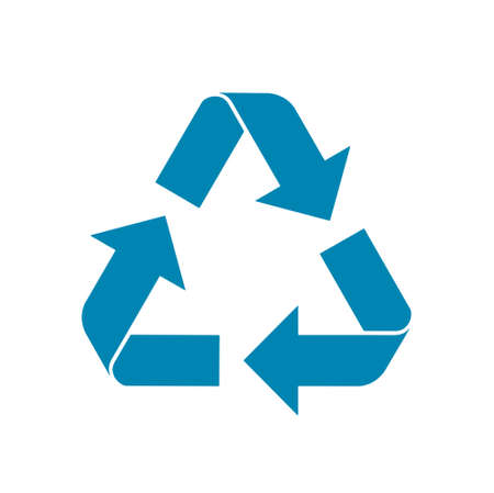 Blue flat icon of recycling, isolated on white background