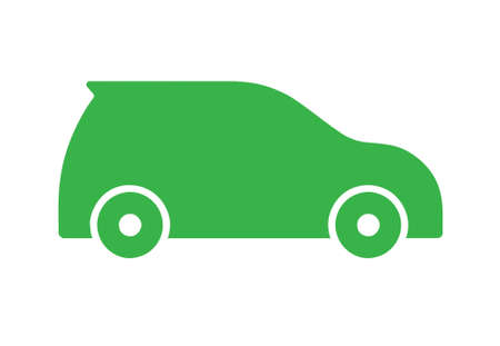Green flat sports car icon on white background